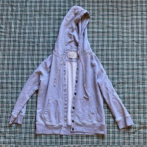 J Crew Rumpled French Terry Button Up Gray Hoodie